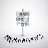 Tiny people standing around. A large megaphone pole Royalty Free Stock Photos