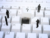 Tiny people standing on a keyboard Royalty Free Stock Photography