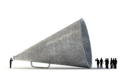 Free Tiny People Using A Vintage Megaphone Royalty Free Stock Photos - 29416638