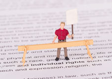 Tiny person demonstrating for his rights Royalty Free Stock Images