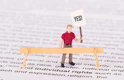 Tiny person demonstrating for his rights Stock Photos