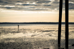 Tiny person walking on the beach at low tide just before sunset. Royalty Free Stock Photos