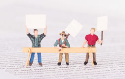 Tiny persons demonstrating for their rights Stock Photos