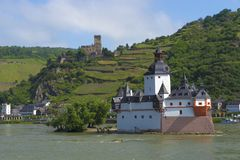 Pfalzgrafenstein Castle. near Kaub in the middle of Rhine river, A UNESCO World Heritage Site Upper Middle Rhine Valley. On the tiny Pfalz Island in the middle royalty free stock image