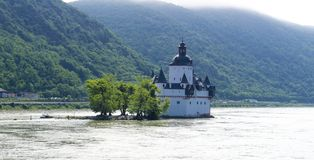 Pfalzgrafenstein Castle. near Kaub in the middle of Rhine river, A UNESCO World Heritage Site Upper Middle Rhine Valley. On the tiny Pfalz Island in the middle royalty free stock photos