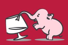 Tiny pink elephant drinks from wineglass Royalty Free Stock Photos