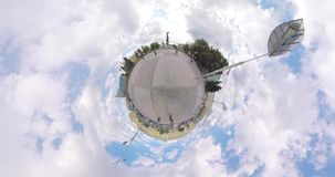 Tiny planet Constitution Square Kharkov Ukraine. The Square of the Constitution in the center of Kharkov Ukraine. On it is the Independence Monument `Flying stock video