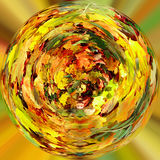 Tiny planet of Fall orange autumn leaves Stock Photography