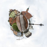 Tiny planet of the Old Town of Warsaw, Poland Royalty Free Stock Image