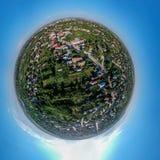 Tiny planet 360 panorama of Caracal Romania stock image