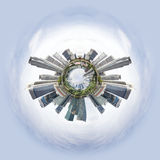 Tiny planet with skyscrapers Royalty Free Stock Image