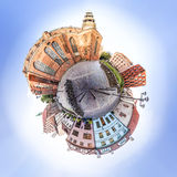 Tiny planet of Small Square with Old houses in old Town Riga, La Royalty Free Stock Images