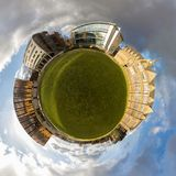 Green Planet Logo Space. A tiny planet of the University of Leeds campus Stock Images