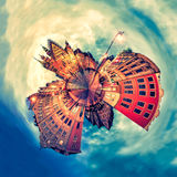 Tiny planet of Wroclaw Market Square with Town Hall during sunset Poland, Europe Royalty Free Stock Images