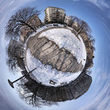 Tiny planets. Late morning on a small lush planet Stock Photo