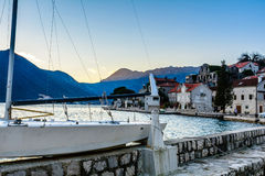 Tiny port in the city of Perast Royalty Free Stock Photography