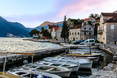 Tiny port in the city of Perast Stock Images