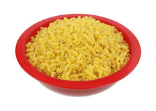 Tiny Quarter Inch Macaroni Red Bowl Angle View Stock Photo
