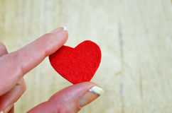 Tiny red heart held by women's fingers Stock Photos