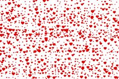 Tiny red hearts. Small red hearts with white background Royalty Free Stock Photo