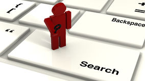 Tiny red search guy Royalty Free Stock Image