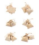 Tiny sackcloth bag isolated Royalty Free Stock Photos