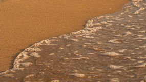 Tiny sea wave over sand, small bubbles of water Royalty Free Stock Images
