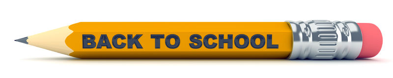 Tiny sharp pencil - Back to School. 3d render Stock Photos