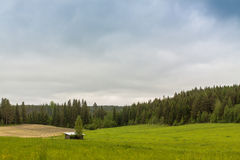 Tiny Shelter In The Fields. A little shelter for the hay located in the middle of the fields in the Central Finland stock images