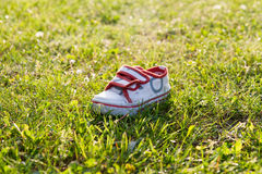 Tiny shoe. Little kid schoe on grass. sun set grass laying Royalty Free Stock Image