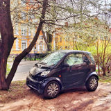 Tiny Smart Car near a beautiful tree Stock Photos