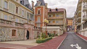 Tiny street in Evian-les-Bains in France in the New year in wint Royalty Free Stock Image