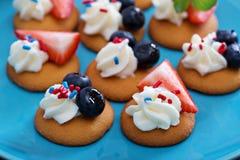 Tiny sweet treats with vanilla wafers Royalty Free Stock Photos