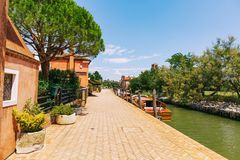 Tiny Torcello island has few residents but it`s often busy with Royalty Free Stock Images