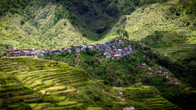Tiny VIllage Clinging to Hillside - Maligcong Rice terraces, Philippines royalty free stock images