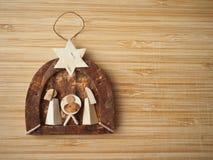 Tiny wooden nativity scene stock photos