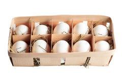 Tio ägg i en korg på hö royaltyfri fotografi