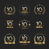 Tio år årsdagberömlogotyp 10th årsdaglogosamling vektor illustrationer