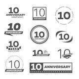 Tio år årsdagberömlogotyp 10th årsdaglogosamling royaltyfri illustrationer