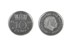 Tio cent mynt från Nederländerna Royaltyfria Bilder