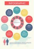 Tio cirklar Infographics som är färgrik med symbolsdesign Royaltyfri Illustrationer