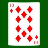 Tio diamanter Card dräktsymbolsvektorn som spelar kortsymbolvektorn vektor illustrationer
