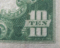 Tio 10 dollar USA-valuta Arkivfoto