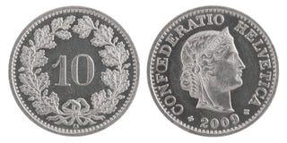 Tio franc mynt royaltyfria foton