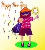 Tio Jack Happy New Year ilustração royalty free