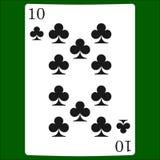 Tio klubbor Card dräktsymbolsvektorn som spelar kortsymbolvektorn stock illustrationer