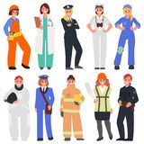 Tio kvinnor i de manliga yrkena stock illustrationer