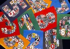 Tio nummer som göras från nummer som klipper från tidskrifter på svarta lodisar Arkivbild
