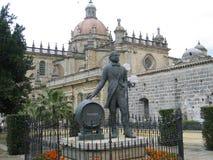 Tio Pepe金属雕象在托罗克斯角,西班牙 库存照片