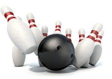 Tio Pin Bowling Pins And Ball Arkivbild